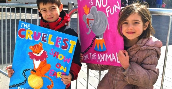 Two Kids Protesting Ringling Brothers Circus