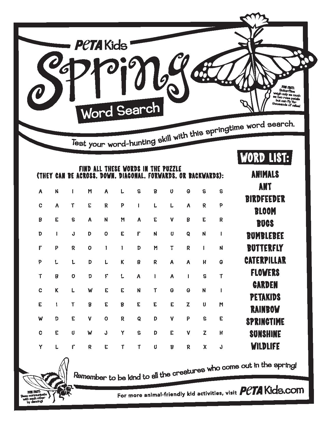 Spring Bugs Word Search