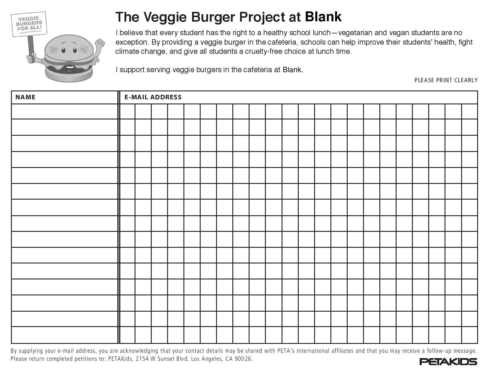 Veggie Burger Petition