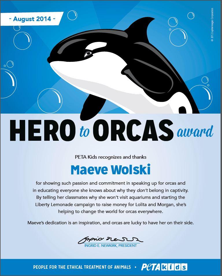 Maeve Wolski Hero to Orcas Award