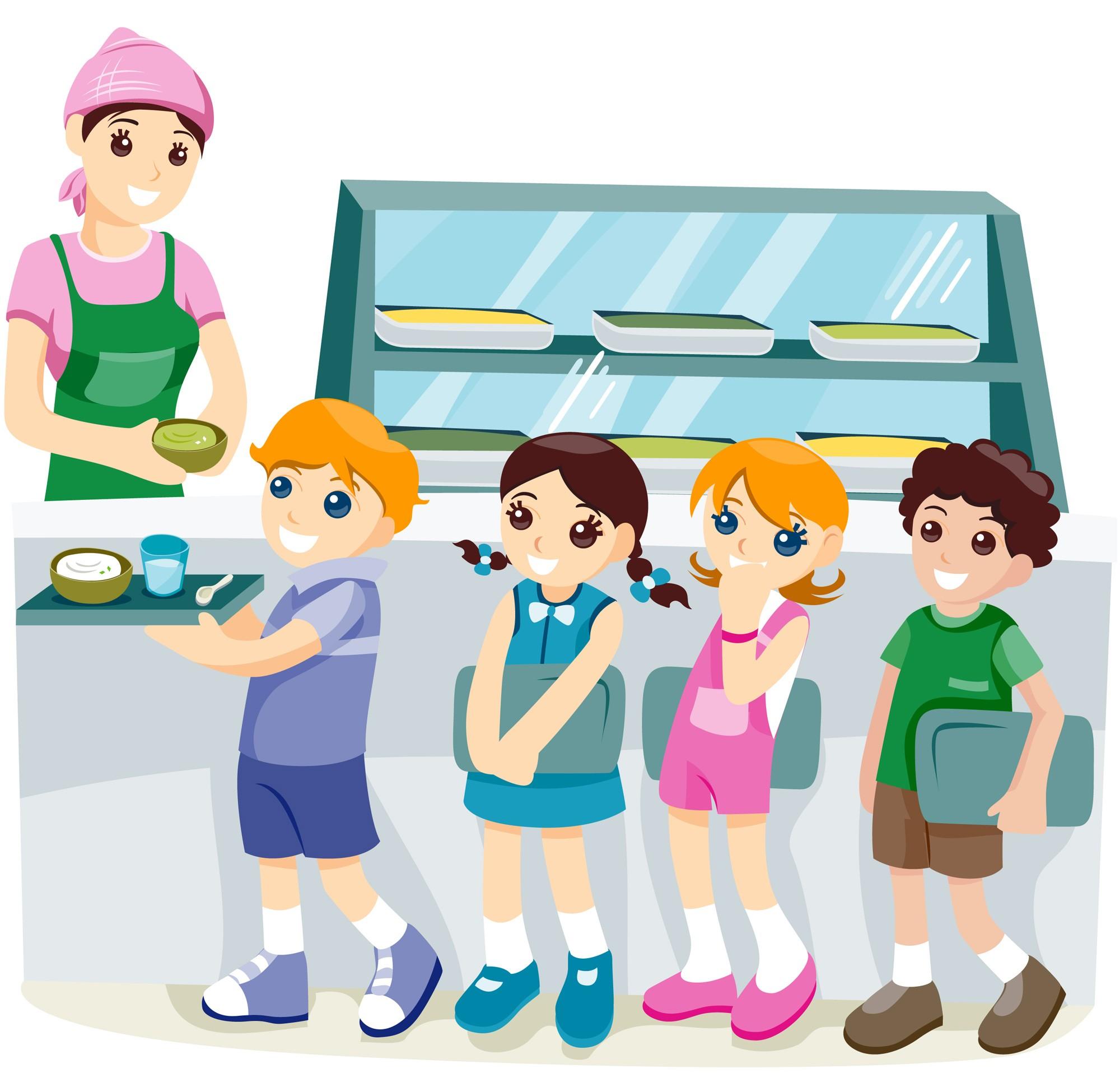 Kids in Lunchroom Illustration
