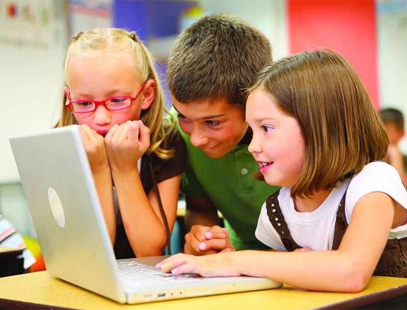 kids around computer-(sfw)