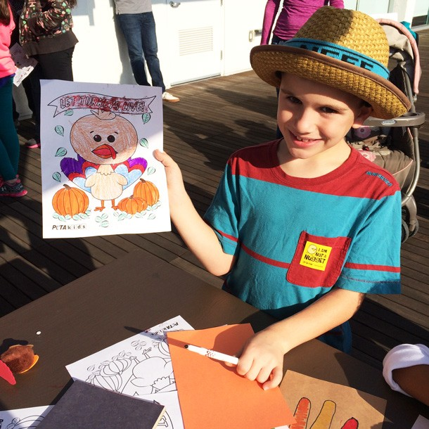 Boy With Turkey Coloring-Sheet