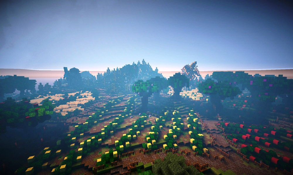 PETA's Minecraft island has lots of farm land for growing fruits and vegetables.