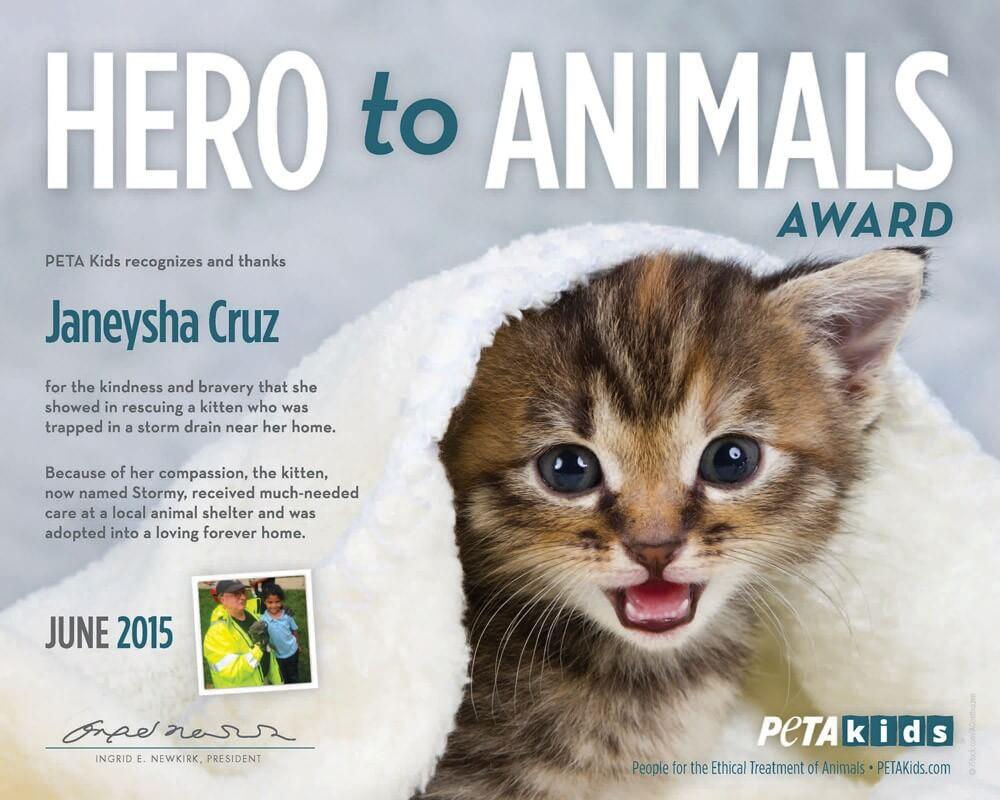 Janeysha Cruz Hero to Animals Award