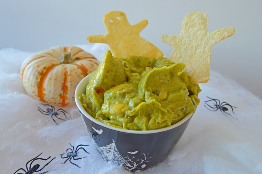 halloween ghost chips and guacamole