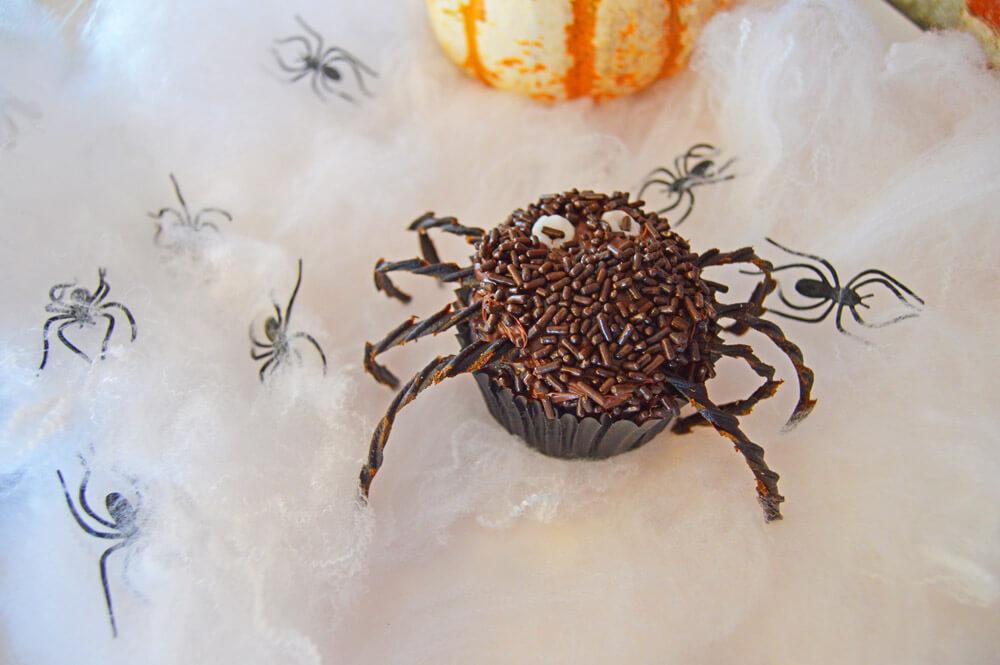 halloween vegan chocolate spider cupcake