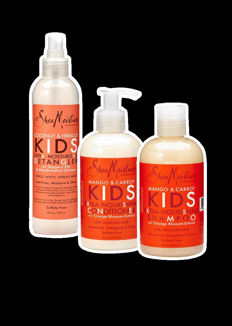 Shea Moisture Kids Shampoo, Conditioner, & Detangler