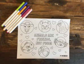 'Animals Are Friends, Not Food' Coloring Sheet