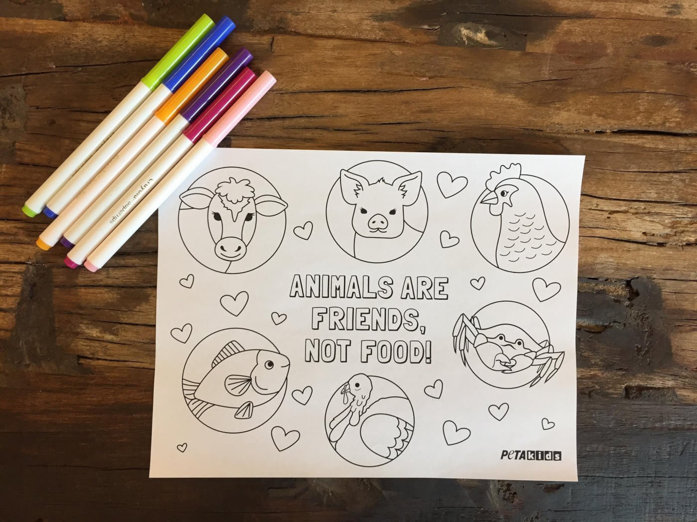 Animals Are Friends Not Food Coloring Sheet Activities Peta Kids