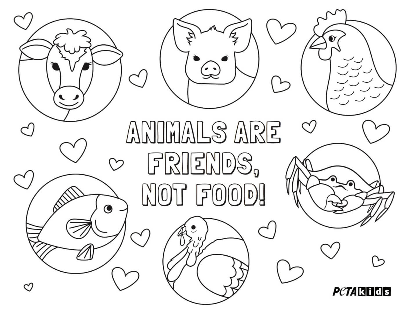 Animals Are Friends, Not Food\' Coloring Sheet | Activities | PETA Kids