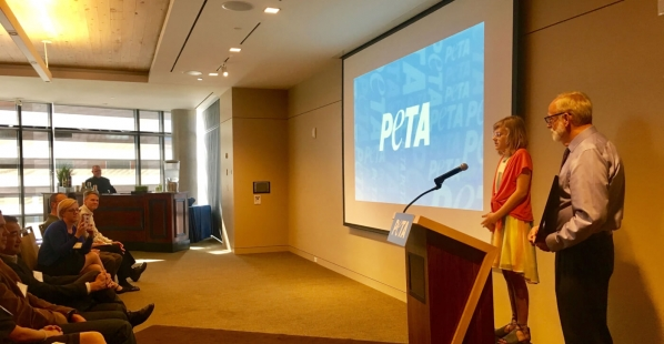PETA Gives 12 Year-Old an Award for Raising Over $1,000!