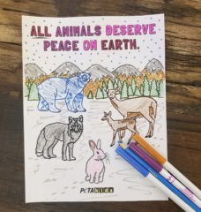 'All Animals Deserve Peace on Earth' Coloring Sheet