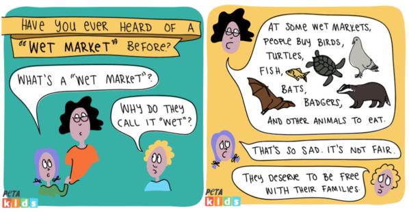 PETA Kids' 'Wet Market' Comic Strip Explains What's Happening Right Now