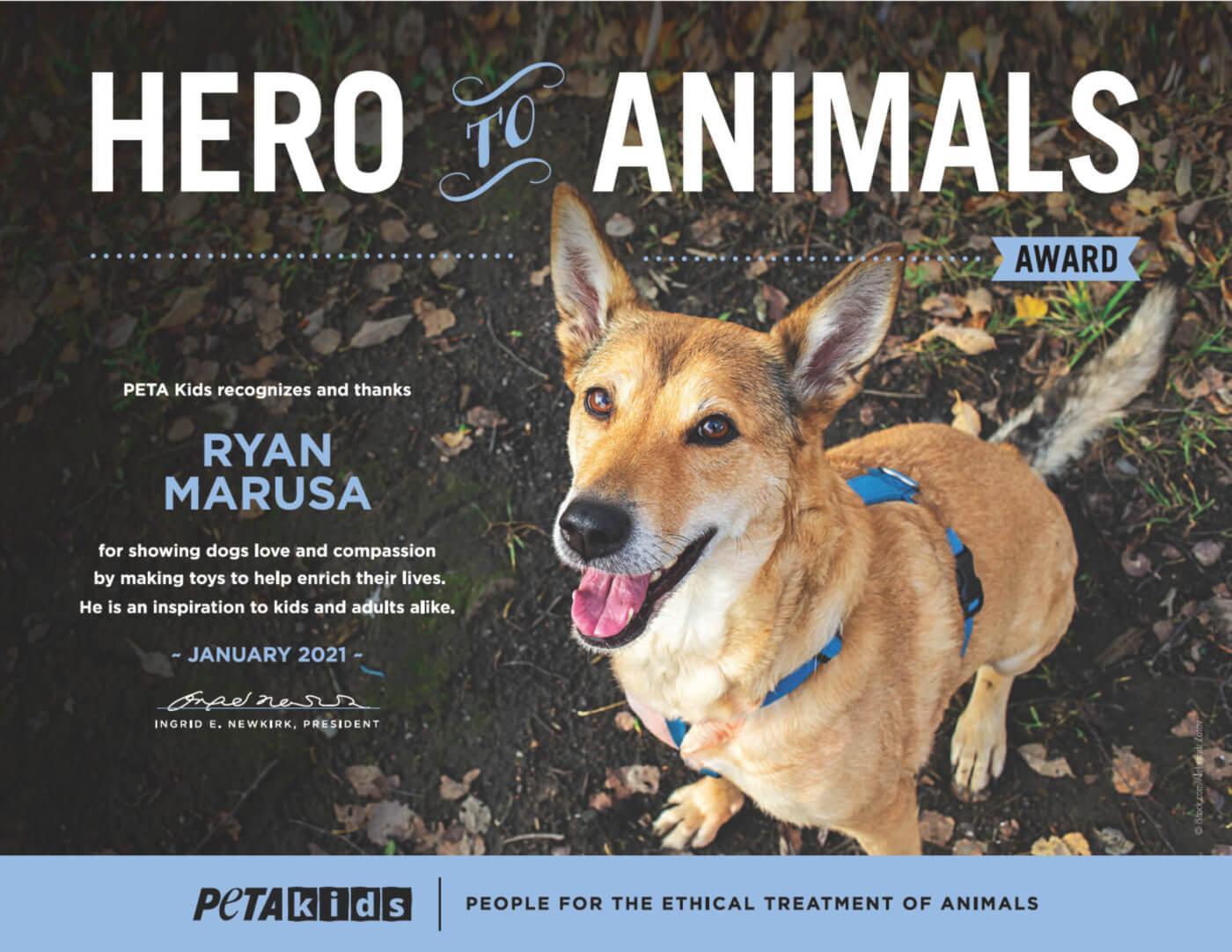 Ryan's 'Hero to Animals' Award