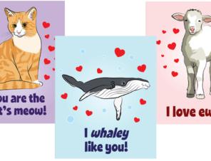 Printable Animal-Friendly Valentine's Day Cards