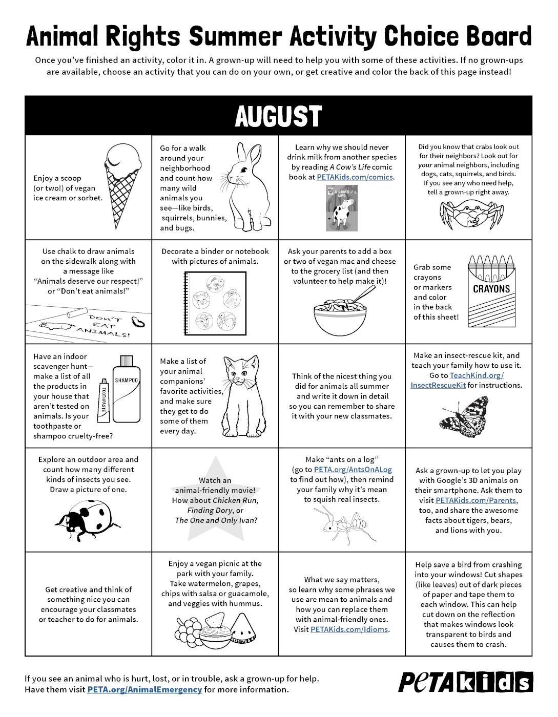 August summer activity choice board